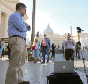 While in Rome, Director of Educational Technology Dominick Lisi and Superintendent Christopher Mominey record video about the canonization of St. Marianne Cope.